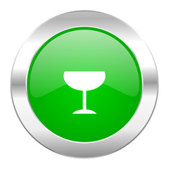 alcohol  green circle chrome web icon isolated
