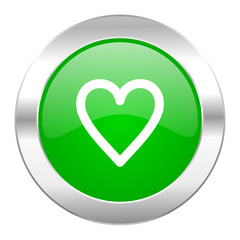 heart green circle chrome web icon isolated