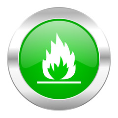 flame green circle chrome web icon isolated