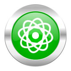 atom green circle chrome web icon isolated