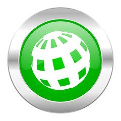 earth green circle chrome web icon isolated