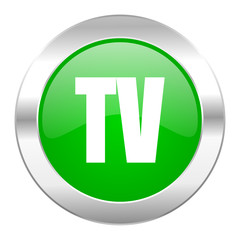 tv green circle chrome web icon isolated