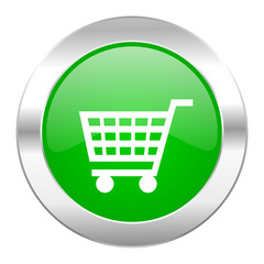 cart green circle chrome web icon isolated