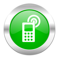 phone green circle chrome web icon isolated