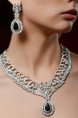 The beautiful woman in expensive pendant