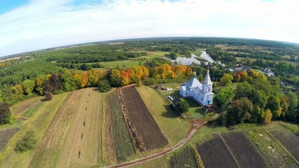 Aerial Church of the Assumption in Sednev Ukraine