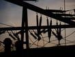 Leinwanddruck Bild - Electrical power grid in silhouette