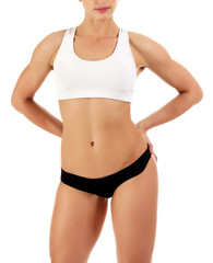 Sports woman, white background, copyspace.