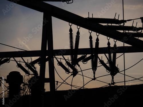 Leinwanddruck Bild Electrical power grid in silhouette