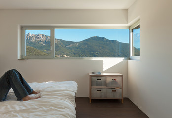 Interior modern house, bedroom