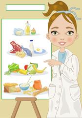 Nutritionist-Dietologa con Piramide Alimentare