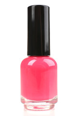Pink nail polish isolated on white