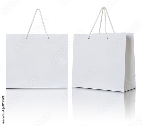 white paper bag on white background - 71536081