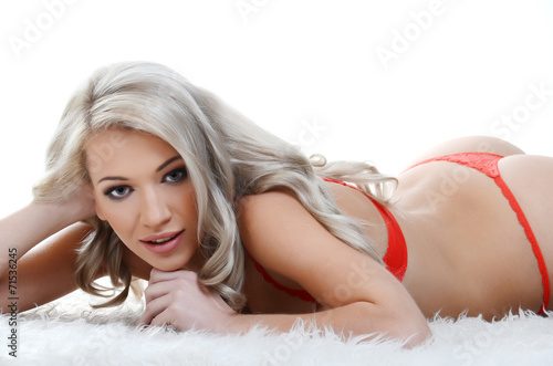 canvas print picture Young sexy blond woman in sexy red lingerie