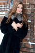 The beautiful woman brunette in winter