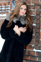 The beautiful woman brunette in winter