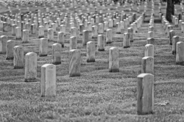 arlington cemetery graveyard in black and white