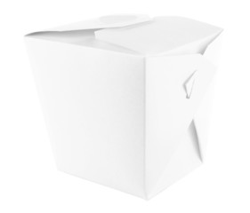 Takeaway box with food isolated on white