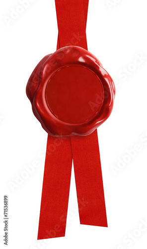 Wax seal with red ribbon isolated - 71536899
