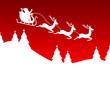 Christmas Sleigh 3 Reindeers Santa Red