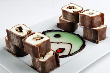 Sweet chocolate roll dessert