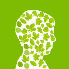 Man head made with leaves ecology vector background concept