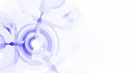 Синие круги на белом фоне. Фрактал.