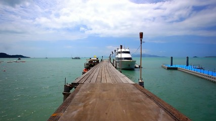 pier with bridge on the island of Koh Samui in Bophut area