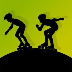 Roller skating vector background concept