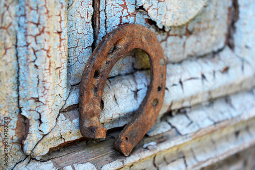 canvas print picture Old horse shoe on vintage wooden door, outdoors