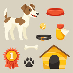 Set of icons and objects with cute dog.