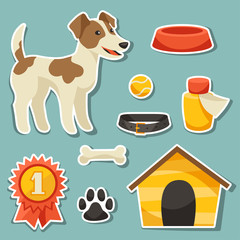 Set of sticker icons and objects with cute dog.