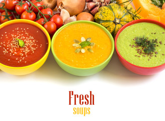 Three fresh soups and vegetables