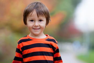 Autumn portrait of a boy in the park