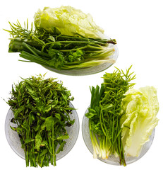 Isolates vegetable dish such as neem leaves, olives, lettuce.