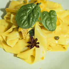 Saffron pappardelle pasta
