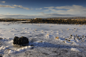 View on a frozen volcanic landscape.