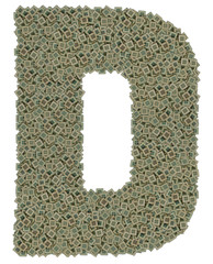 letter D made of old and dirty microprocessors