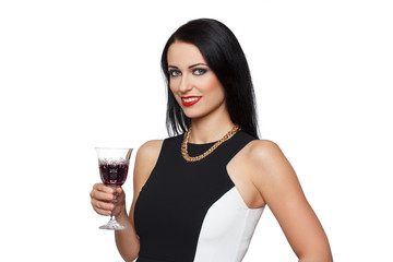 Elegant woman with glass of wine