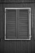 canvas print picture - schwarzes Holzfenster mit hellem Rahmen