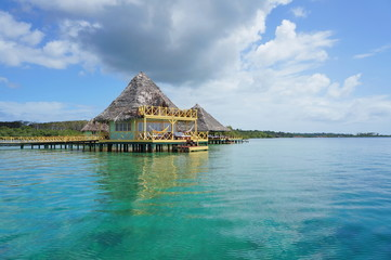 Caribbean resort with thatched bungalow over water