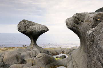 Rock formed by wind and water at Norwegian coast at low tide.