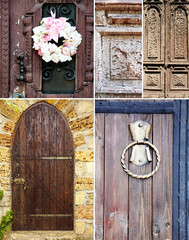 Collage of old vintage doors