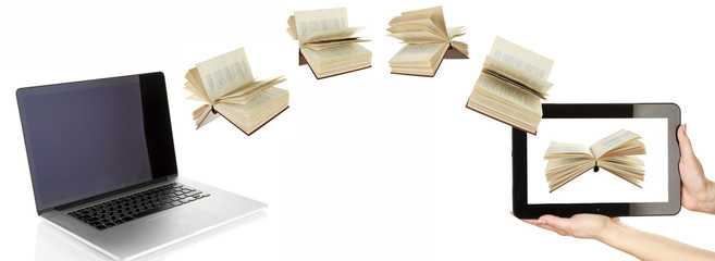 Information transfer. Books flying in tablet from laptop