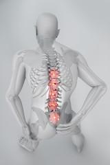 Uomo mal di schiena dolore raggi x scheletro spina dorsale