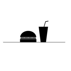 hamburger and juice in a glass black and white vector silhouette