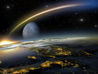 Once in a blue moon: asteroid hitting Earth