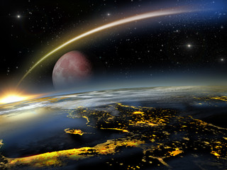 Asteroid hitting Earth with a rising red moon