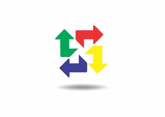 arrow, color, letter N, logo, color, green, yellow, red, blue