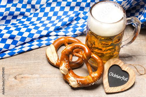 Leinwandbild Motiv Bavarian beer mug and pretzels